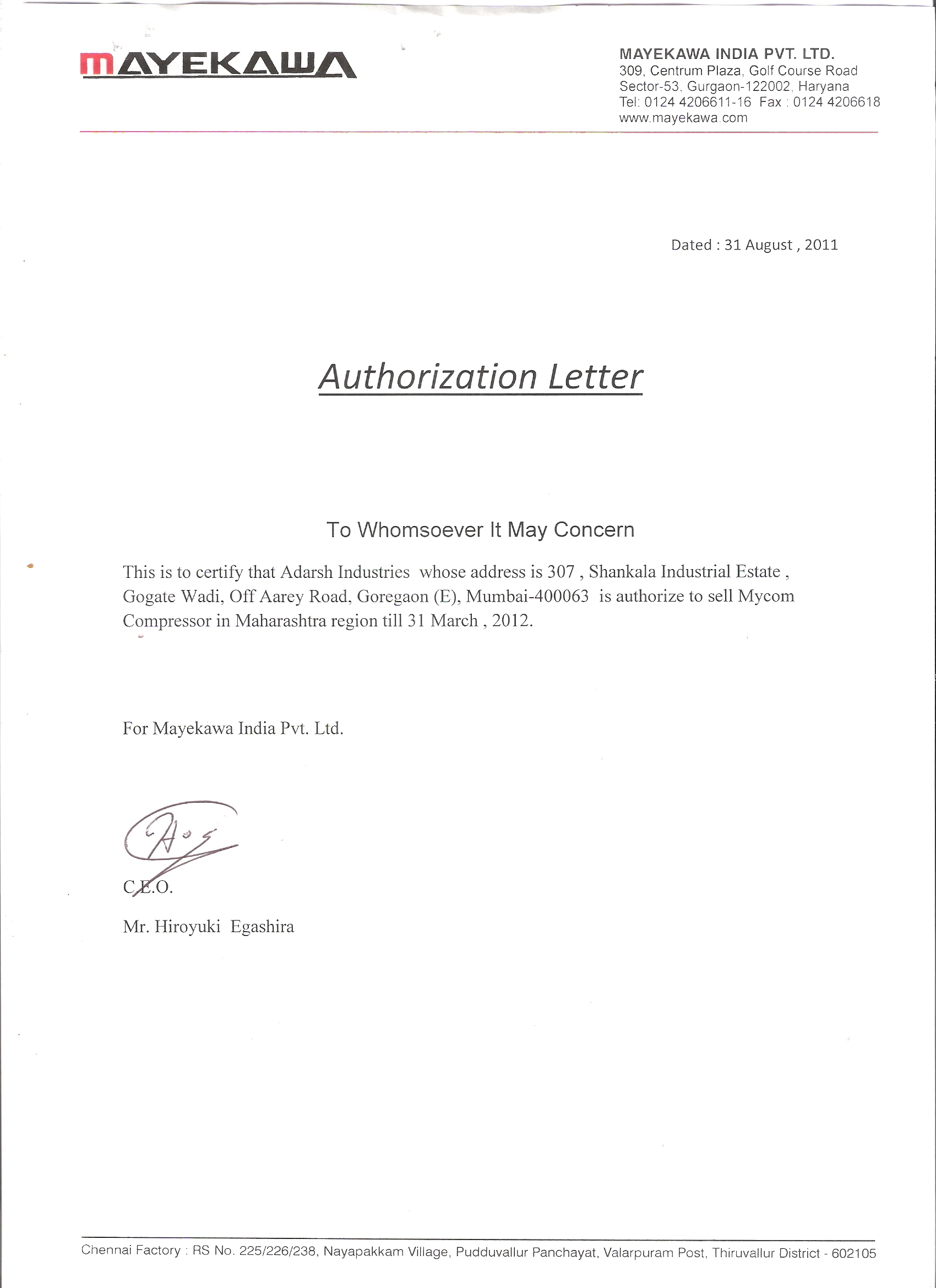 Letter Of Authority Sample India